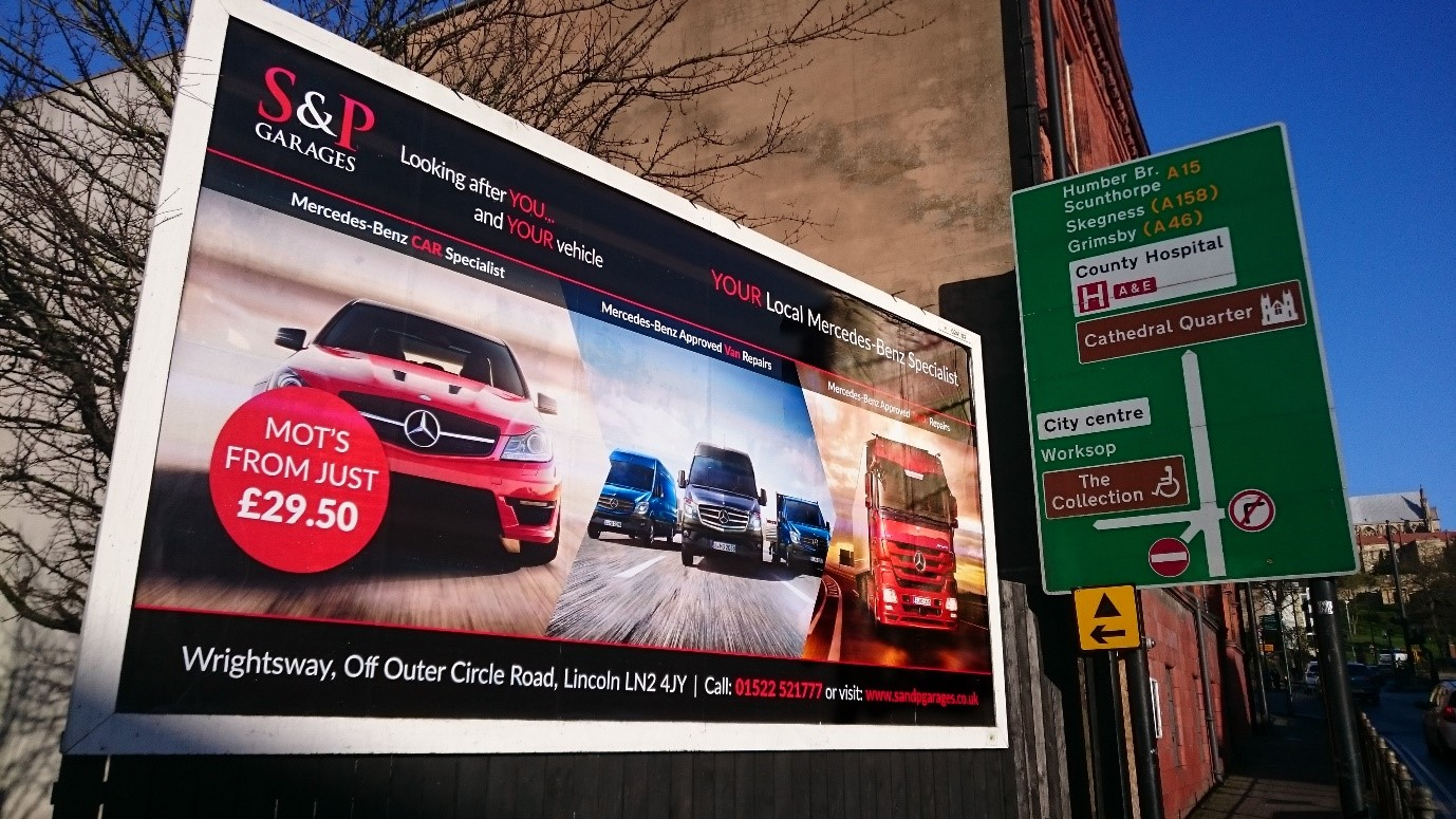 S&P Garages billboard